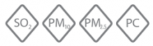 AQmesh monitoring parameters sulfur dioxide, PM10, PM2.5 and particle count